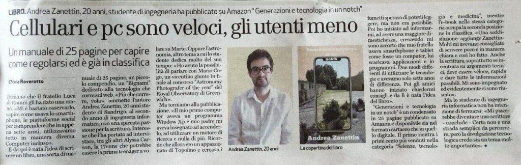 Intervista Giornale di Vicenza Andrea Zanettin